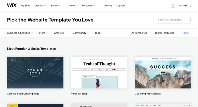 Step 2. Pick Your Website Template